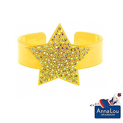 Anna Lou Of London 倫敦品牌 STARS 水晶星星手環 黃色寬版
