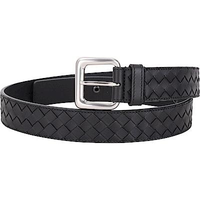 BOTTEGA VENETA 35mm 銀釦環小牛皮編織腰帶(黑色)
