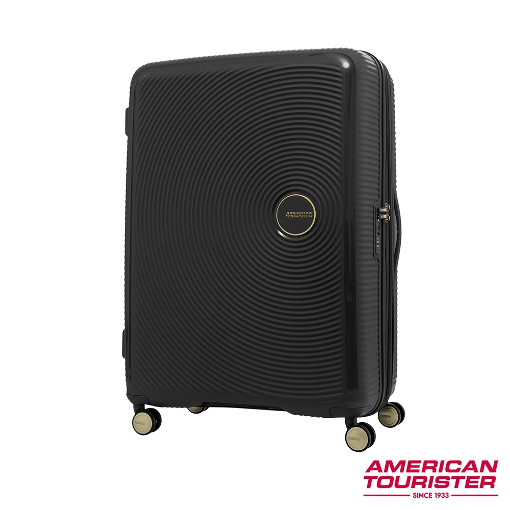 AT美國旅行者 25吋Curio立體唱盤防盜拉鍊硬殼可擴充TSA行李箱(黑金)