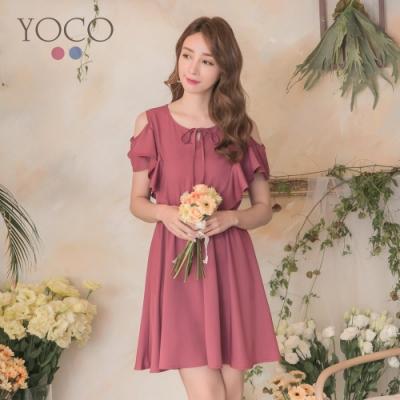 東京著衣-YOCO 浪漫氣質荷葉造型挖肩洋裝-S.M.L(共兩色)