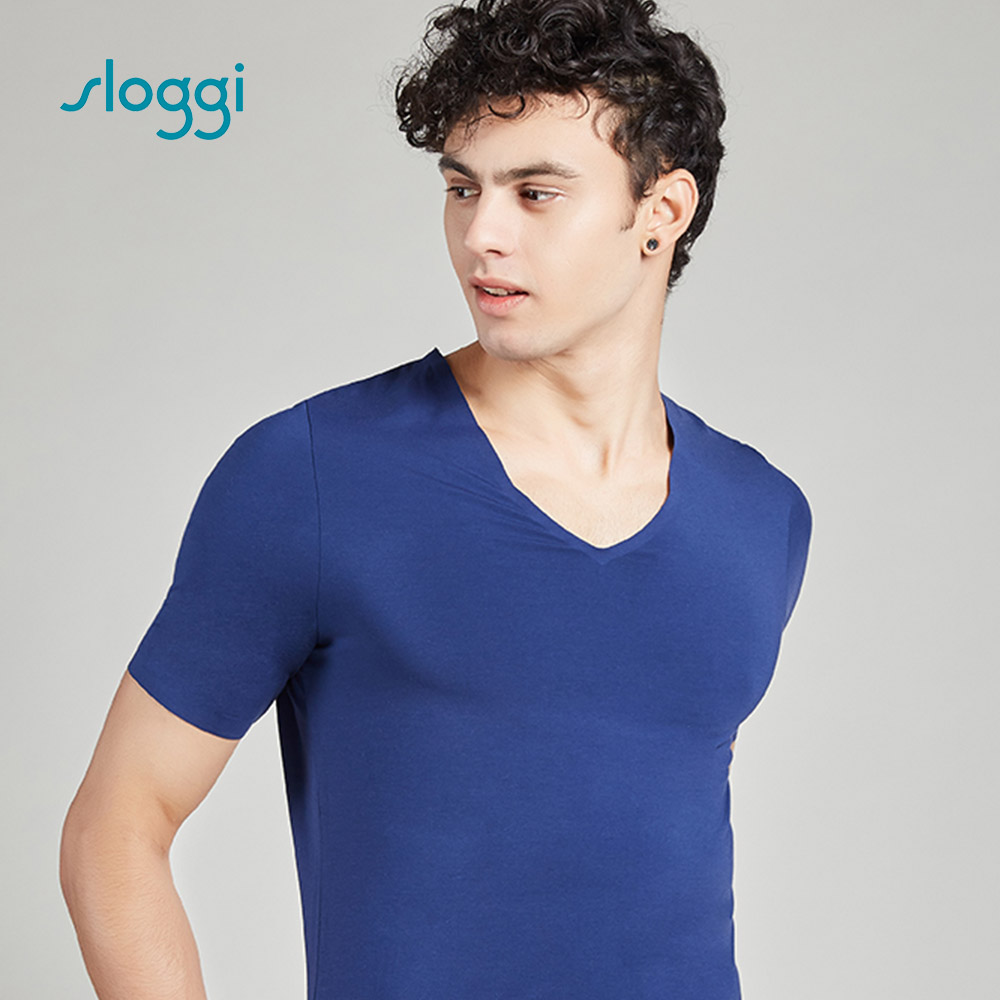 sloggi men ZERO Feel 零感系列短袖內著上衣 紳士藍