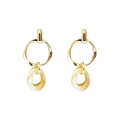 Prisme 美國時尚飾品 扭轉金屬珍珠母貝 金色耳環 耳針式
