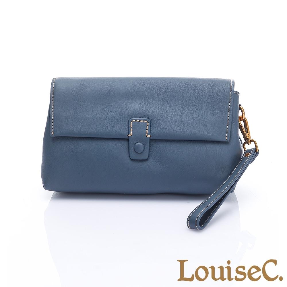 LouiseC. 植鞣革牛皮 知性多夾層手拿側背包-海洋藍 HGSA810601-09