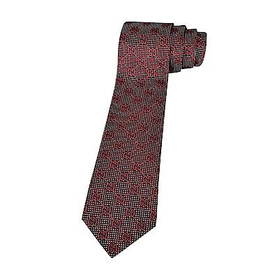 GUCCI經典緹花LOGO蠶絲菱格交叉設計領帶(酒紅)