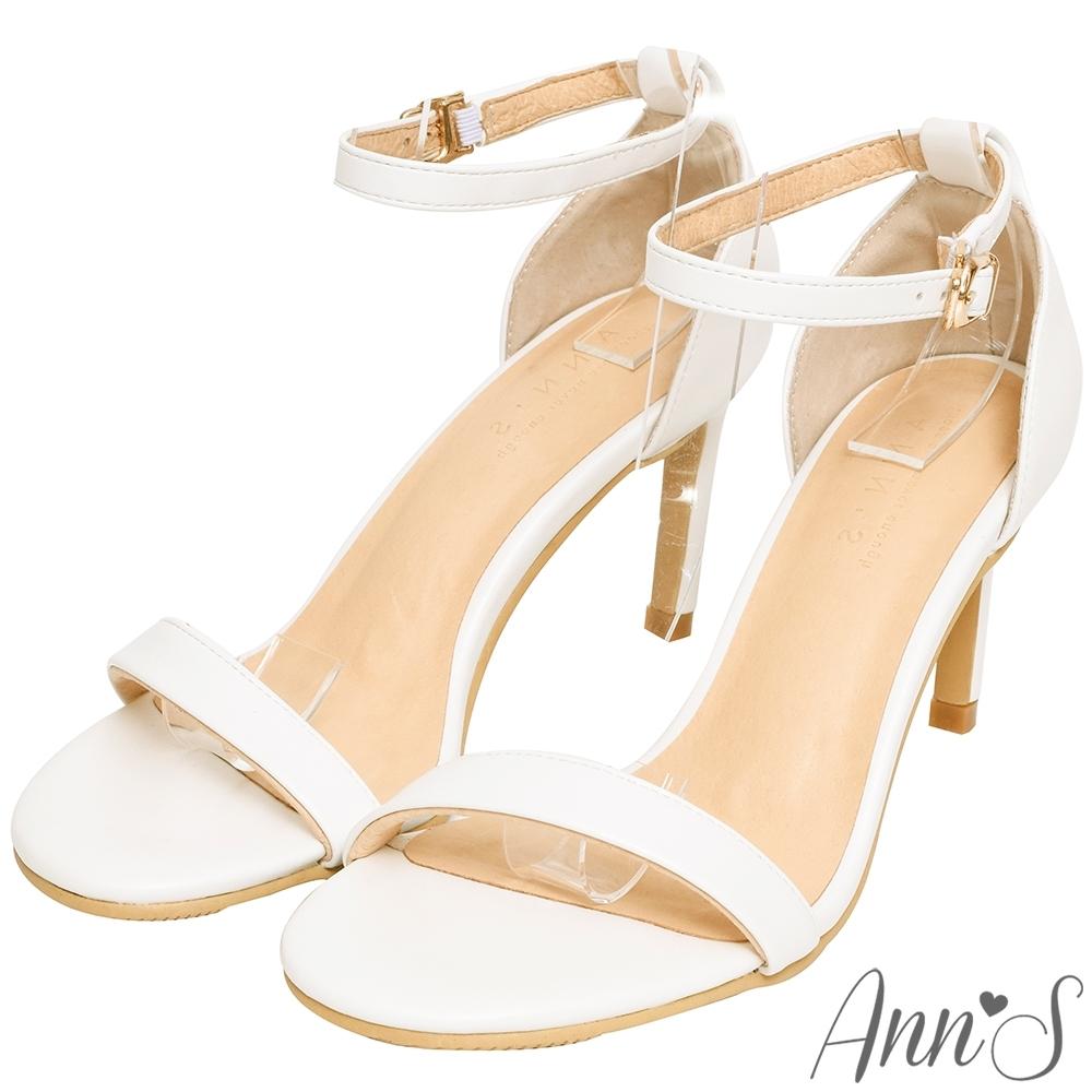 Ann'S不踩雷美腿製造機一字帶涼鞋-細帶8公分高跟-白