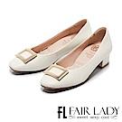 Fair Lady Cube Chic塊時尚 雅致質感飾扣方頭粗跟鞋 白