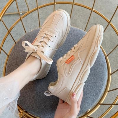 韓國KW美鞋館 時尚搶眼休閒百搭運動鞋-米
