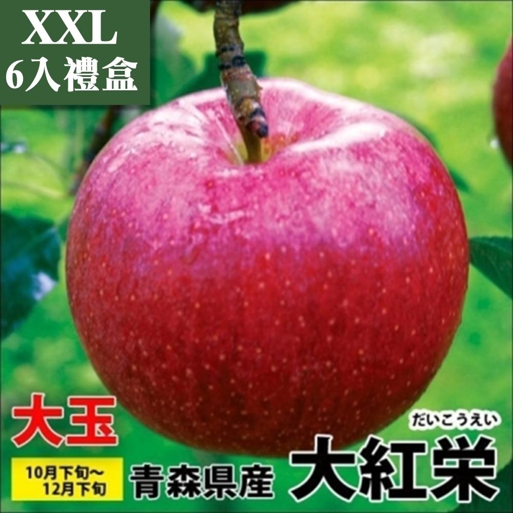 【天天果園】日本青森大紅榮蘋果XXL 6入禮盒(每顆約320g)(春節禮盒)