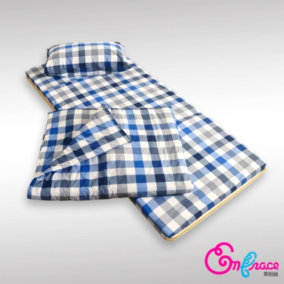 英柏絲 學生外宿組合 格藍 單人3尺 冬夏竹青透氣床墊+枕+被 宿舍 折疊床墊 懶人包