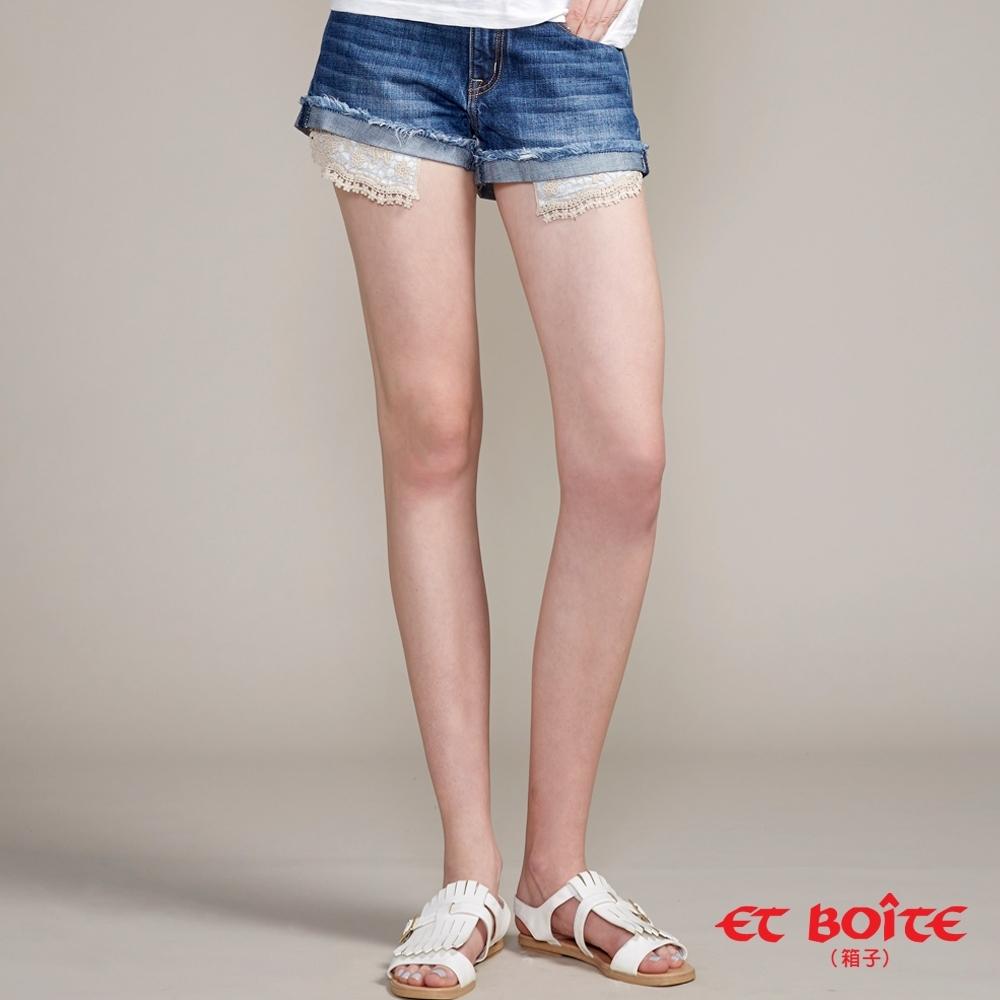 ETBOITE  箱子  口袋蕾絲鬚邊短褲(深藍)
