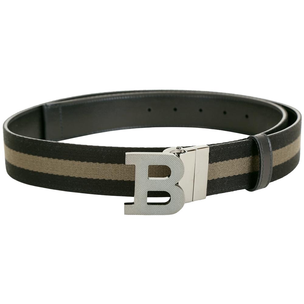 BALLY B BUCKLE 銀黑釦經典織紋雙面兩用皮帶(黑x棕綠色)