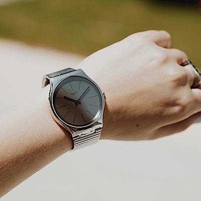 Swatch 超薄金屬錶 Skin Irony 42 魔鏡銀-42mm