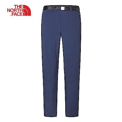 The North Face北面男款藍色防潑水針織拼接長褲 3RKVH2G