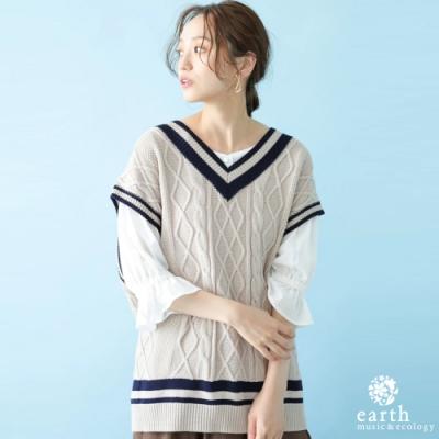 earth music 配色條紋麻花辮V領針織背心上衣