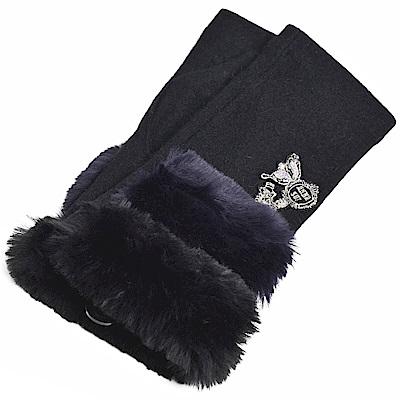 ANNA SUI 奢華品牌字母LOGO圖騰刺繡安哥拉羊毛露指手套(黑色系)