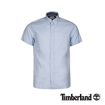 Timberland 男款天際藍色修身牛津紡短袖襯衫|A1WSW