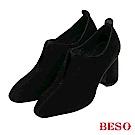 BESO 低調美型 全真皮尖頭金屬粗跟鞋-黑