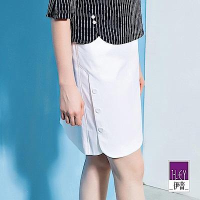 ILEY伊蕾 透氣棉質鈕扣剪接造型鉛筆裙(白/藍)