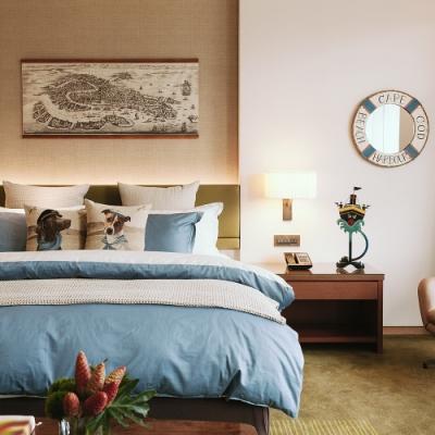 寬庭行旅-環遊世界-單人三件式被套床包組+積雲夏被  (爵士藍+天使白)