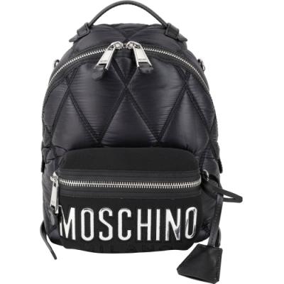 MOSCHINO 小款 菱格車縫拼接尼龍後背包(黑色)