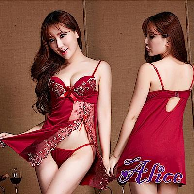 Alice紅色誘惑套裝文胸鋼托聚攏胸罩騷極度性感睡衣(AK050)