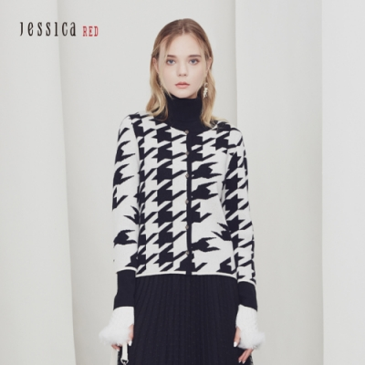 JESSICA RED - 千鳥格羊絨混紡不對稱印花修身圓領針織開衫