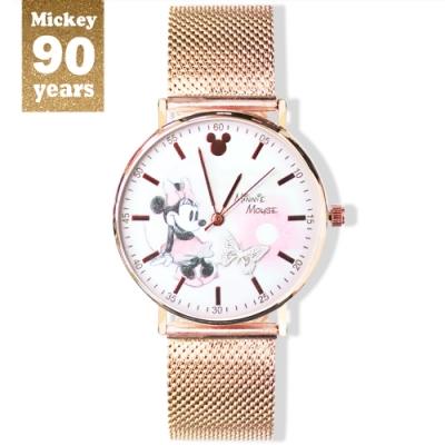 DISNEY迪士尼90周年紀念系列手錶-Giggle Minnie米妮38mm玫瑰金米蘭帶