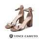 VINCE CAMUTO-WINDERLY真皮動物紋一字繫踝帶粗高跟涼鞋-絨灰色 product thumbnail 1