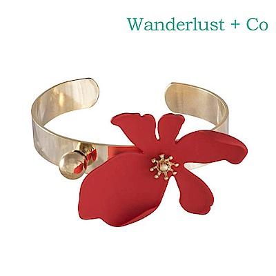 Wanderlust+Co 澳洲時尚品牌 CAMILLA蘭花系列 寬版金色手環 紅色