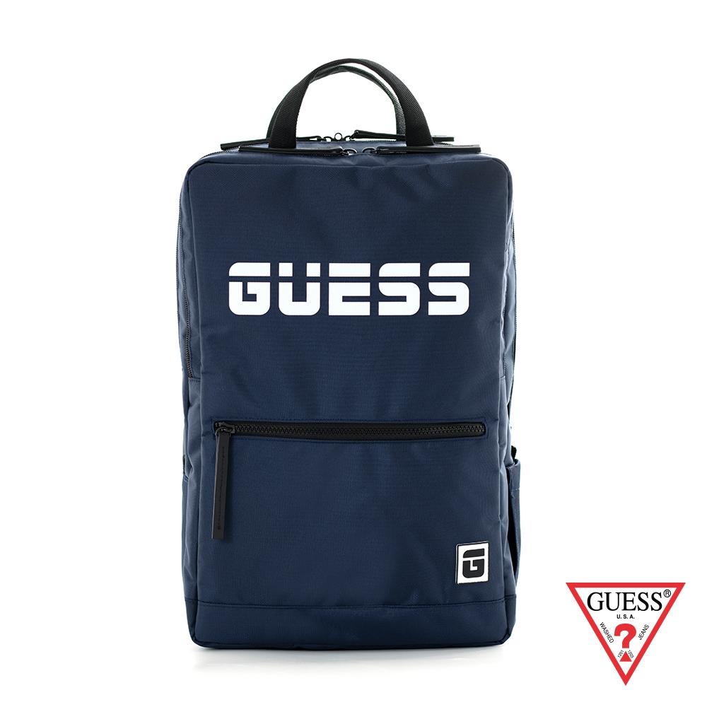 GUESS-男包-個性LOGO字母後背包-藍 原價2690