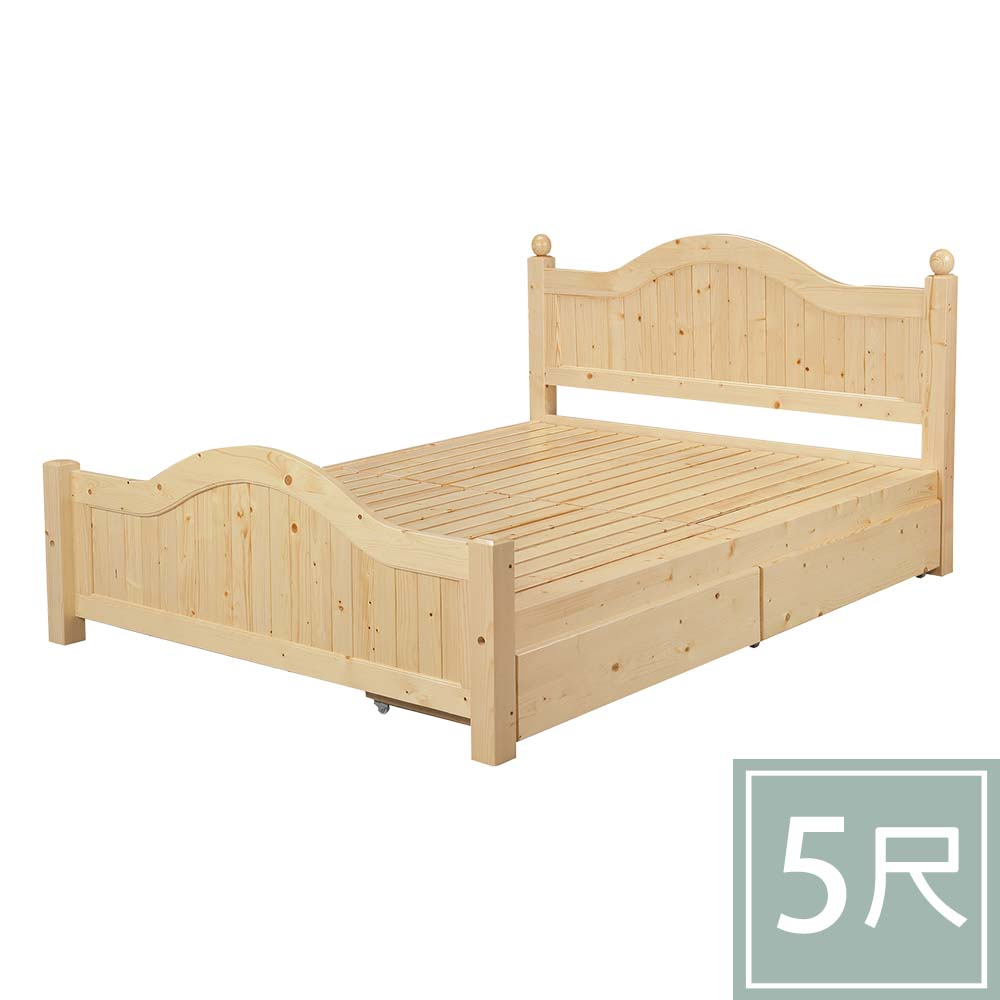 柏蒂家居-瑪莎5尺雙人松木床架-附收納抽屜2入(實木床板)