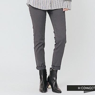 H:CONNECT 韓國品牌 女裝-修身格紋長褲-棕色