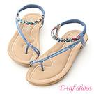 D+AF 花漾魅力.麻辮花布斜帶平底涼鞋*藍