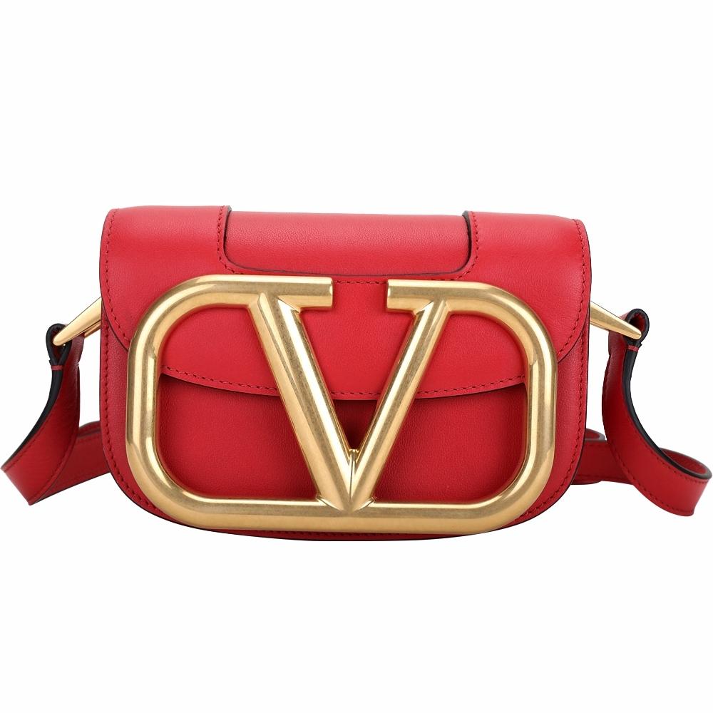 VALENTINO VLogo SuperVee 小款 金屬標誌小牛皮斜背包(紅色)
