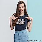 GIORDANO 女裝純棉熱愛旅行印花圓領T恤-12 標誌海軍藍