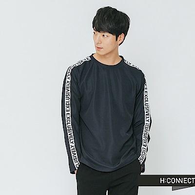 H:CONNECT 韓國品牌 男裝-衣袖標語滾邊上衣-藍