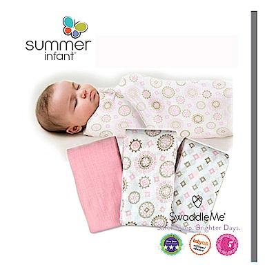 美國 Summer Infant 輕量細棉紗布寶寶毯3入組 - 彩鑽粉