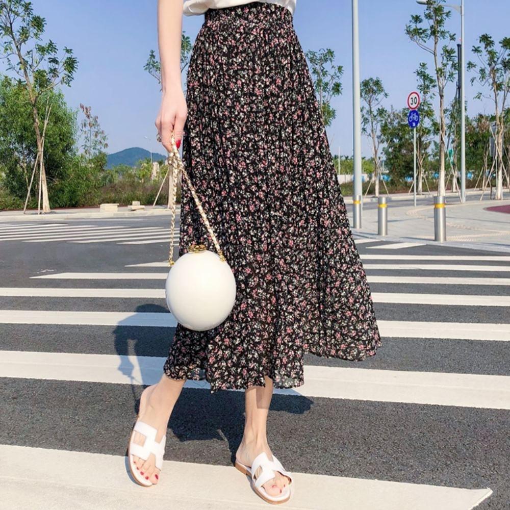 La Belleza鬆緊腰小花朵朵碎花壓折百摺裙大擺裙(有內襯)