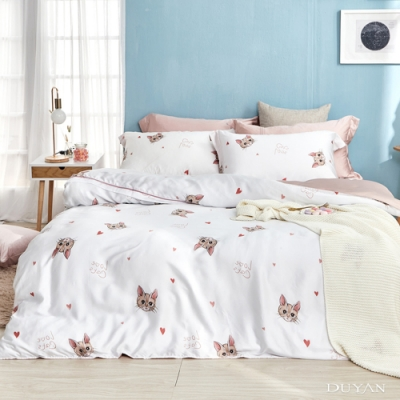 DUYAN竹漾-60支萊塞爾天絲-單人床包+雙人薄被套三件組-初日貓語 台灣製