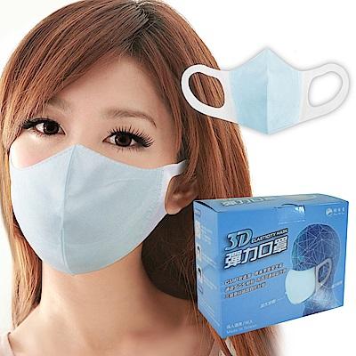台灣康匠-3D立體三層不織布成人口罩50個/盒(藍色)