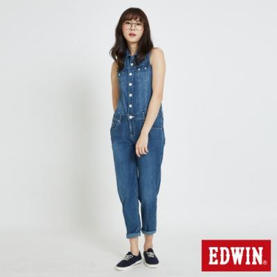 EDWIN MISS 基本款削肩 牛仔連身褲-女-石洗藍