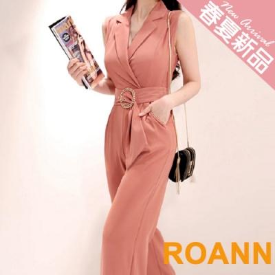 OL風純色翻領西裝連身褲 (粉色)-ROANN