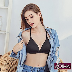 Olivia 無鋼圈3D輕巧美背三角杯內衣-黑色