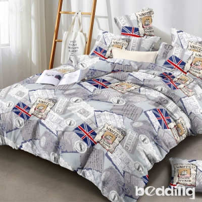 BEDDING-頂級法蘭絨-單人床包被套三件組-英國派對