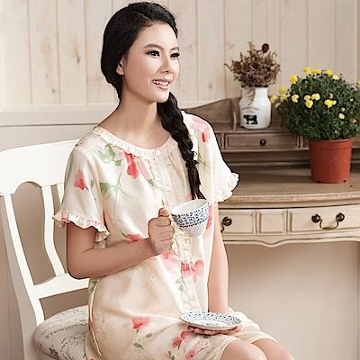 華歌爾睡衣-居家休閒二件式M-L睡衣褲裝(花朵橘)