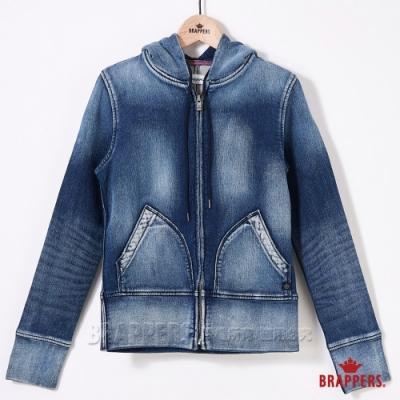 BRAPPERS 女款 Boy Friend牛仔夾克系列-針織長袖連帽外套-藍