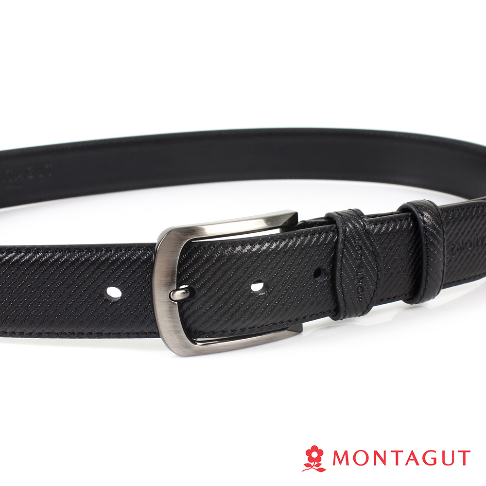 【MONTAGUT夢特嬌】方圓框斜切紋二層牛皮休閒針扣皮帶(884)
