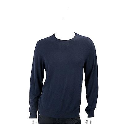 BURBERRY  喀什米爾羊毛混紡深藍色格紋細節針織衫