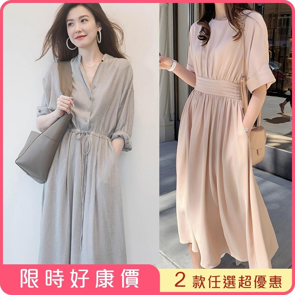 初色  法式浪漫大裙襬洋裝-共2款-(M-2XL可選)