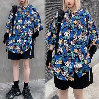 【韓國K.W.】(預購)韓時尚夏日氛圍花情外套襯衫-1色